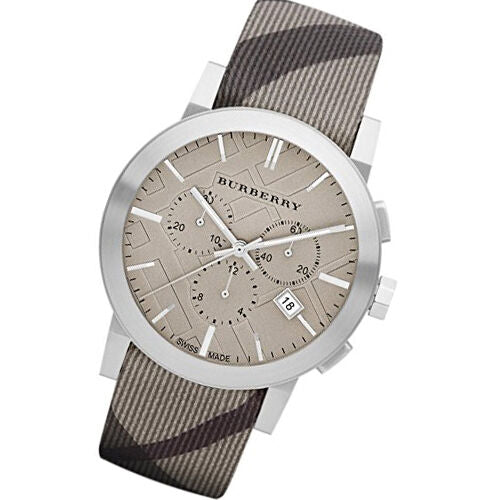 Burberry Mens Chronograph The City Beige Dial S/S Case Fabric Strap Watch BU9358