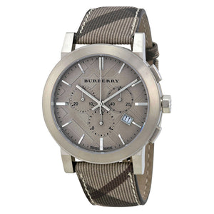 Burberry Mens Chronograph The City Brown Dial S/S Case Fabric Strap Watch BU9361