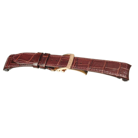 Seiko Brown Leather Croc Style Replacement Watch Strap SNP096P1