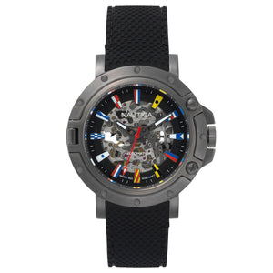 Nautica Porthole  Mens Automatic  Black Skeleton Dial Gun Metal IP Stainless Steel Case Black Rubber Strap Watch NAPPRH011