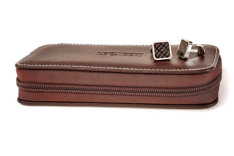 Image of Leanashi Zip Watch Box Leather UPO1-CHOC