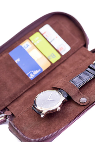 Leanschi Zip Watch Box Leather UP01-CHOC