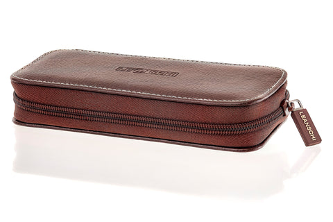 Leanashi Zip Watch Box Leather UPO1-CHOC