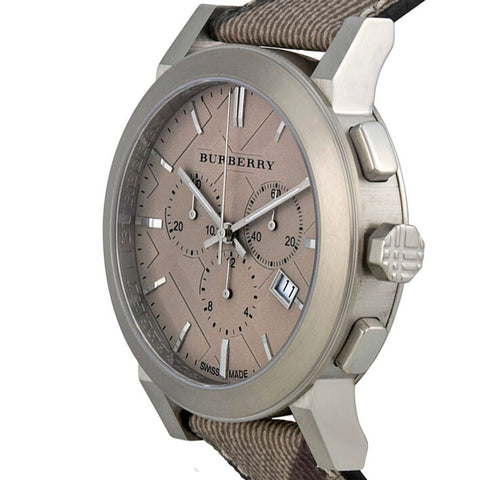 Image of Burberry Mens Chronograph The City Brown Dial S/S Case Fabric Strap Watch BU9361