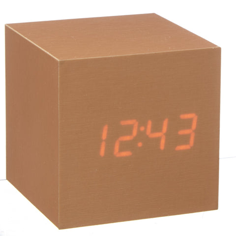 Image of Clock - Cube Click Clock Copper / Red LED