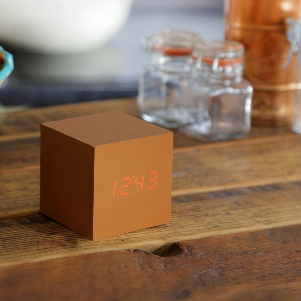 Clock - Cube Click Clock Copper / Red LED