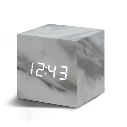 Clock - Cube Click Clock Marble / White