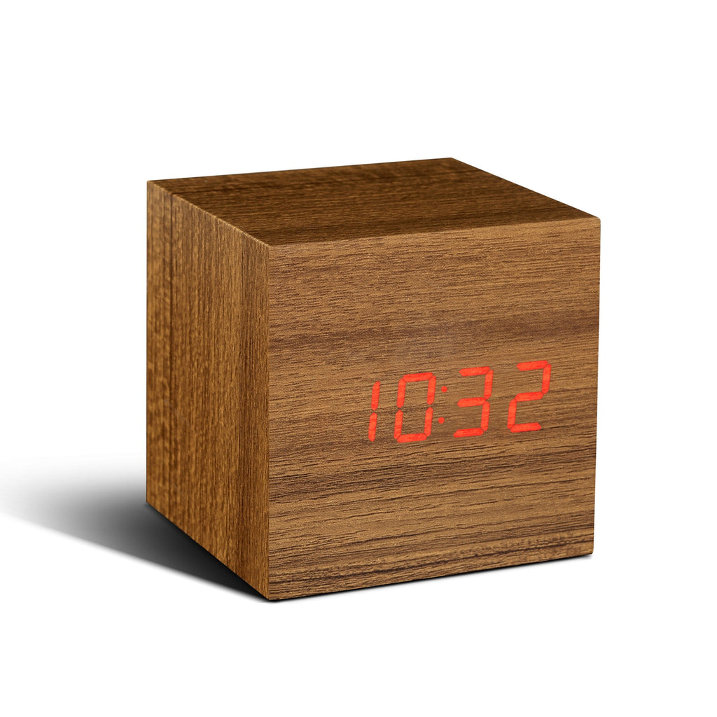 Clock - Cube Click Clock Teak/ Red LED