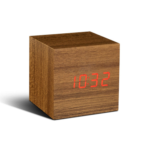 Image of Clock - Cube Click Clock Teak/ Red LED