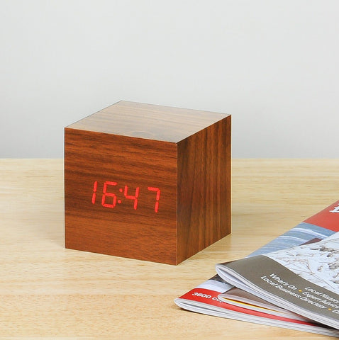 Image of Clock - Cube Click Clock Walnut /RED LED