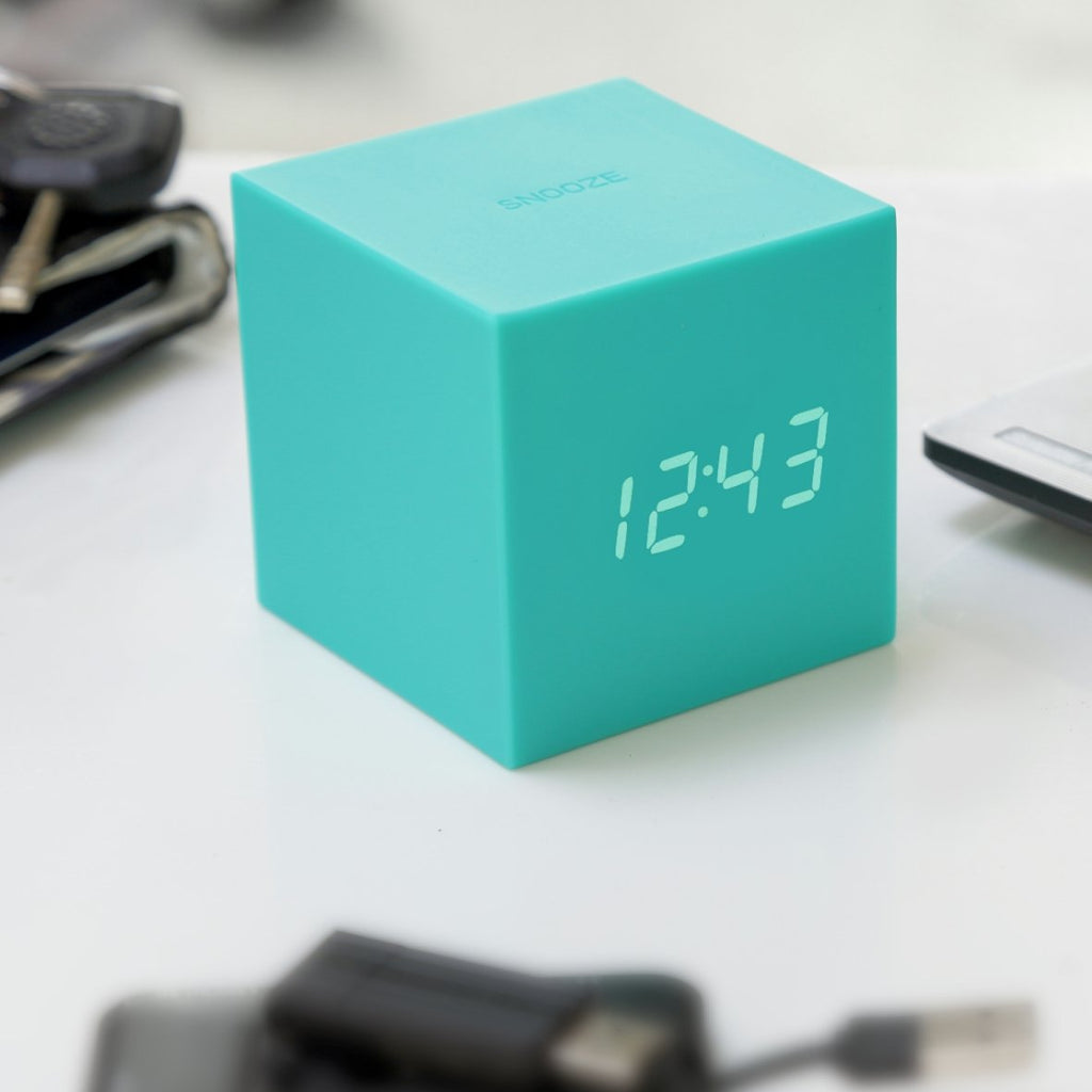 Clock - Gravity Click Cube Clock Green