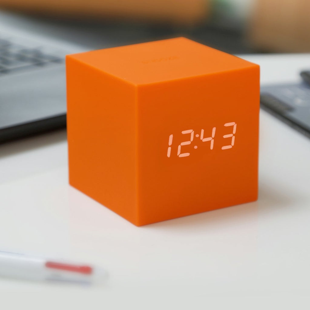 Clock - Gravity Click Cube Clock Orange