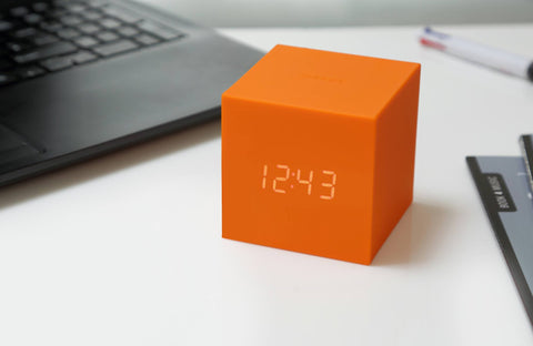 Image of Clock - Gravity Click Cube Clock Orange