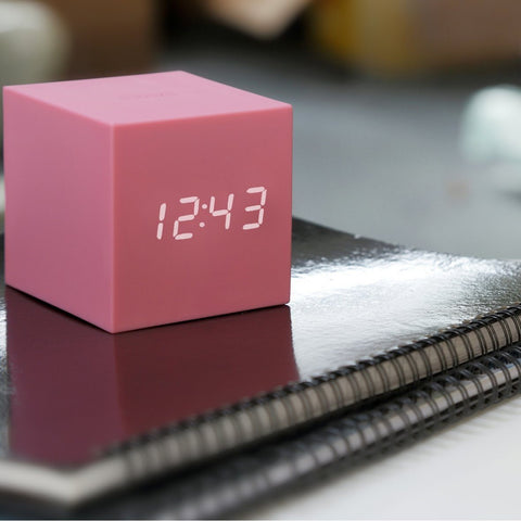 Image of Clock - Gravity Click Cube Clock Pink