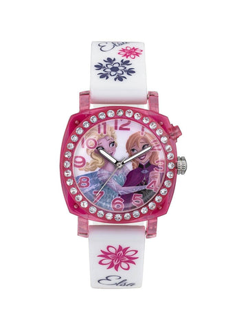 Kids Watch - Disney Frozen Anna And Elsa White Flashing Girls Watch