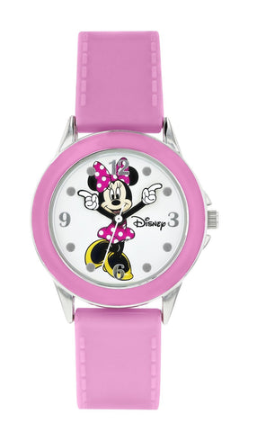 Kids Watch - Disney Minnie Mouse Pink Bezel White Dial Girls Watch
