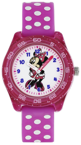 Image of Kids Watch - Disney Minnie Mouse Pink Polka Dot White Dial Girls Watch