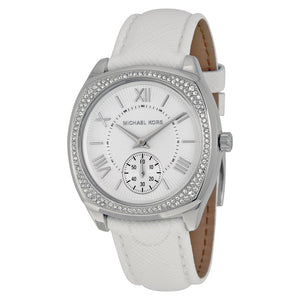Bryn White Dial White Leather Ladies Watch