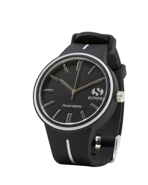 Superga Mens Black Rubber Watch STC026