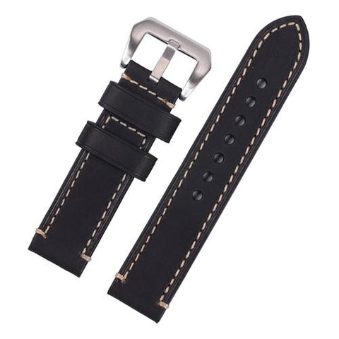 Watch Strap - Replacement Black Hand Stitched Watch Strap To Fit Panerai 20MM, 22MM, 24MM, 26MM