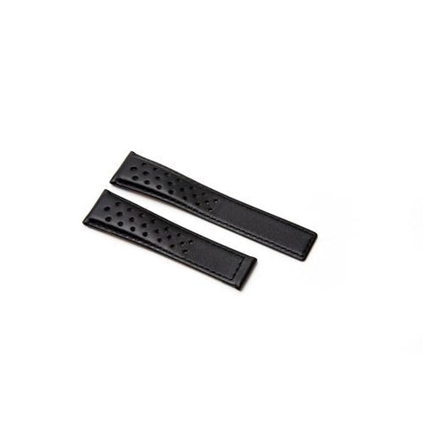 Watch Strap - Replacement Black Perforated Watch Strap To Fit Tag Heuer 22MM-18MM