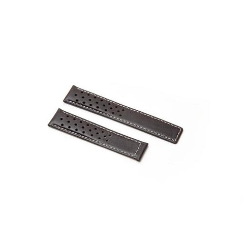 Watch Strap - Replacement Black White Stitching Perforated Watch Strap To Fit Tag Heuer 19MM-18MM