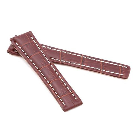 Watch Strap - Replacement Brown Alligator White Stitching Watch Strap To Fit Brietling Deployment 20mm/18mm