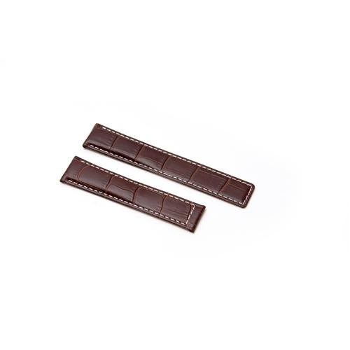 Watch Strap - Replacement Brown White Stitching Croc Style Watch Strap To Fit Tag Heuer 19MM-18MM