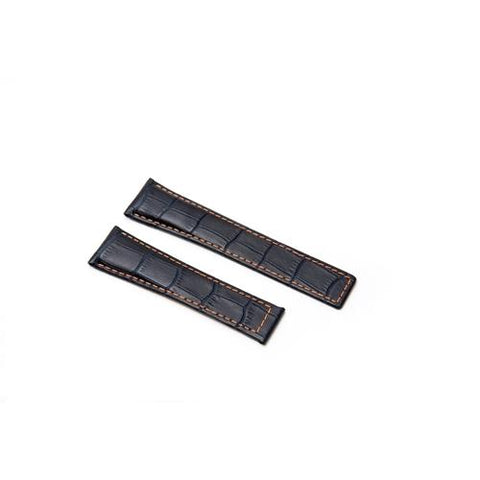 Image of Watch Strap - Replacement Croc Style Brown Stitching Watch Strap To Fit Tag Heuer 22MM-18MM