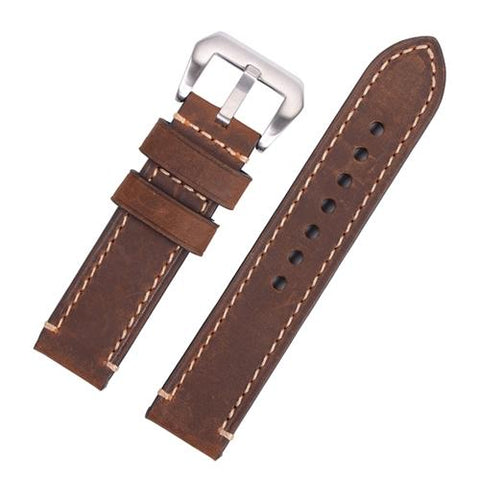 Watch Strap - Replacement Dark Brown Hand Stitched Watch Strap To Fit Panerai 20MM, 22MM, 24MM, 26MM