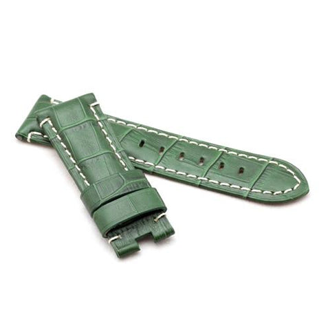 Watch Strap - Replacement Green Croc White Stitched Watch Strap To Fit Panerai 22MM, 24MM