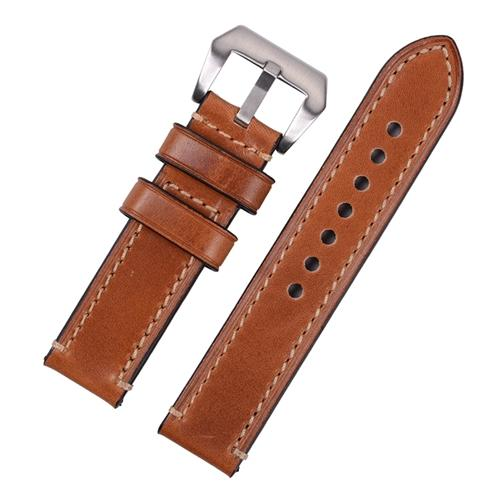 Watch Strap - Replacement Light Brown Hand Stitched Watch Strap To Fit Panerai 20MM, 22MM, 24MM, 26MM