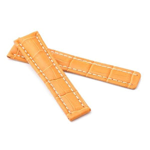Watch Strap - Replacement Orange Alligator White Stitching Watch Strap To Fit Brietling Deployment 20mm/18mm
