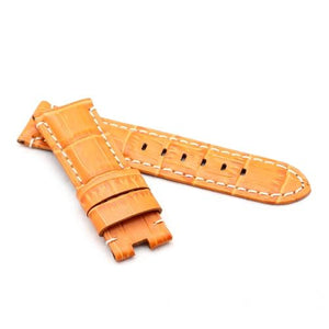 Watch Strap - Replacement Orange Croc White Stitched Watch Strap To Fit Panerai 22MM, 24MM