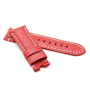 Watch Strap - Replacement Red Croc White Stitched Watch Strap To Fit Panerai 22MM, 24MM