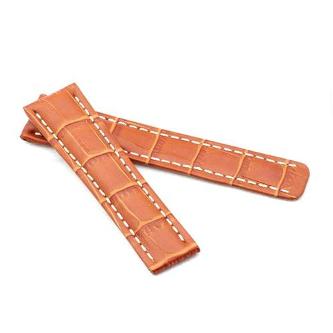 Watch Strap - Replacement Tan Alligator White Stitching Watch Strap To Fit Brietling Deployment 20mm/18mm