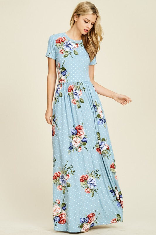 Madeline Polka Dot Floral Maxi (Available in Plus Size)
