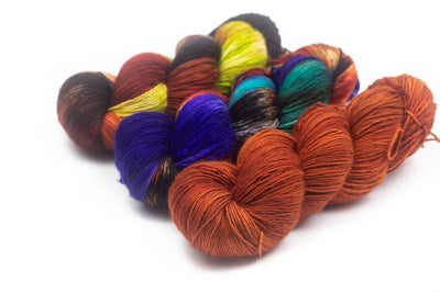 "PREORDER!!  Three Color Shawl Combo set ""Halloween Town"" Fingering Weight Helen Stewart ""Wick"" shawl"
