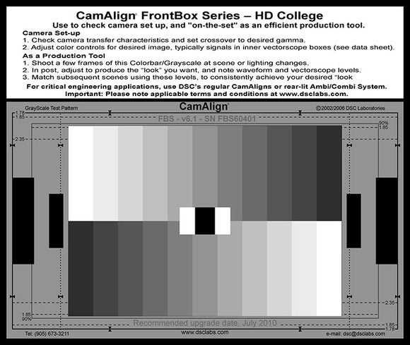 DSC Labs Front Box Portable Test Charts College