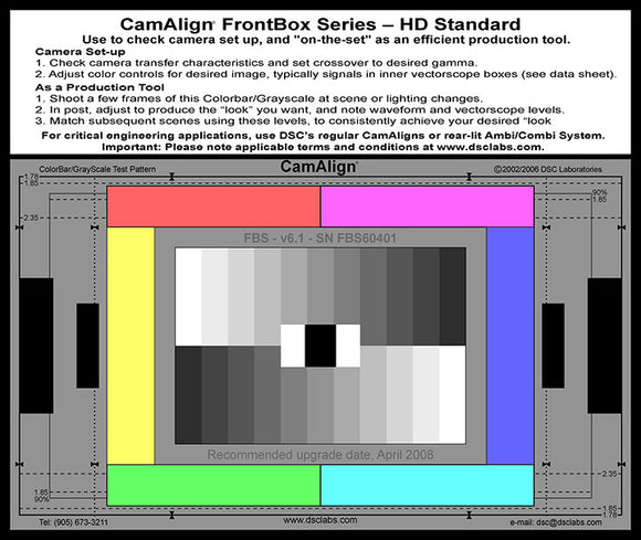 DSC Labs Front Box Portable Test Charts FrontBox Standard
