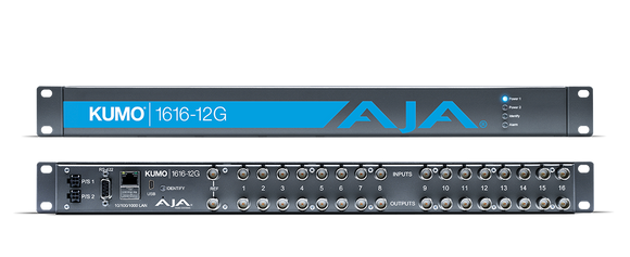 Aja KUMO 1616-12G Compact 16x16 12G-SDI Router with Power Supply