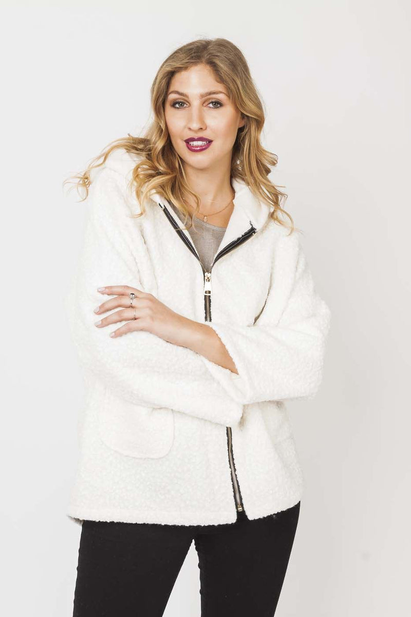 Textured Wool Hooded Jacket in Cream
