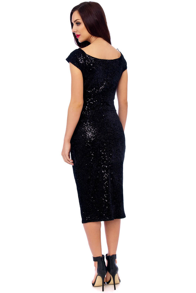 Black Sequin Knot Midi Dress With Gathered Waist