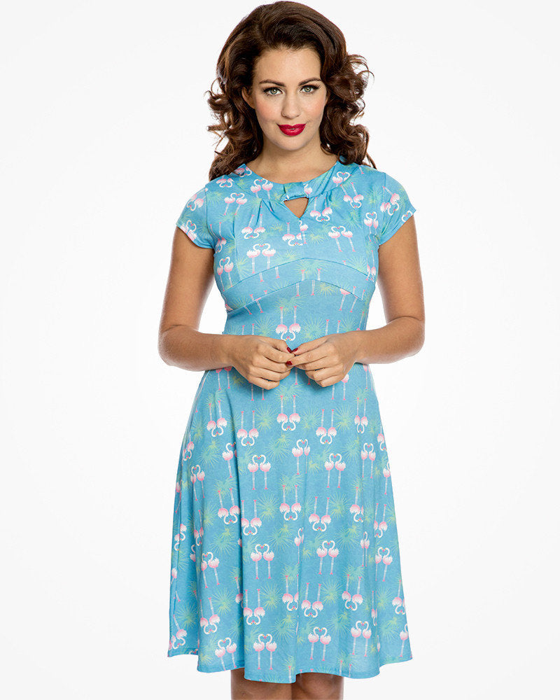 'Juliet' Flamingo Leaf Print Tea Dress
