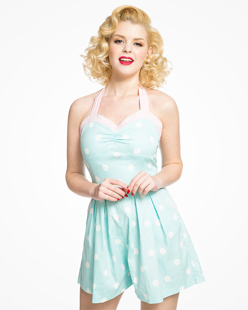 Mint Polka Dot Playsuit - Lauren