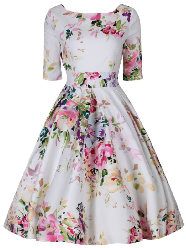 Liana White and Pink Florals Flare Dress