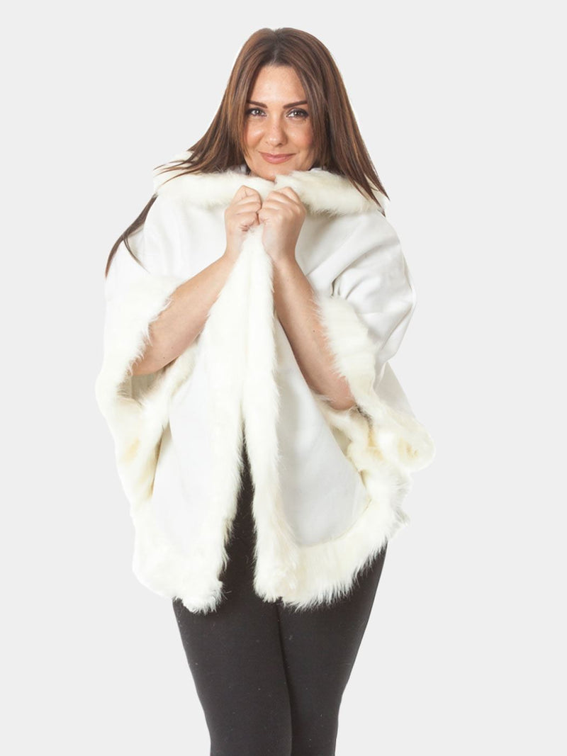 Faux Fur Trim Hooded Cape - Cream