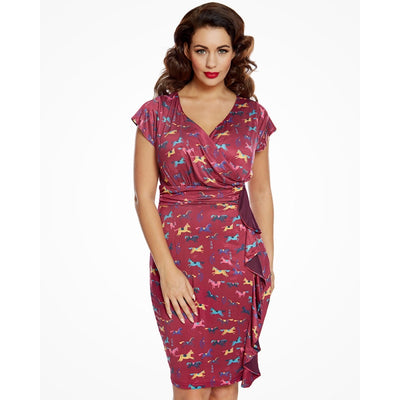 'Niamh' Wild Horses Print Pink Wrap Style Wiggle Dress
