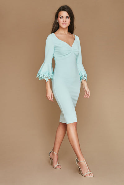 Mint Sleeved Midi Dress With Floral Sleeves
