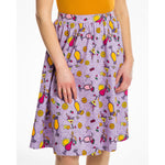 Pink Summer Cocktail Print Swing Skirt - Pryia